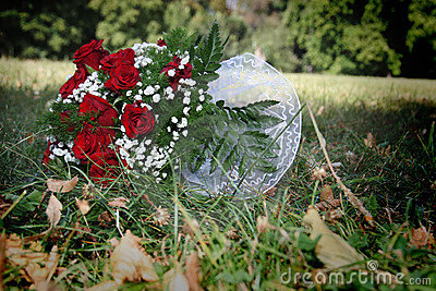 Wedding bouquet in the grass