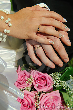 Wedding Bouquet with hands and rings