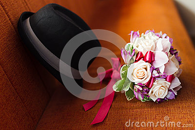 Wedding bouquet and hat