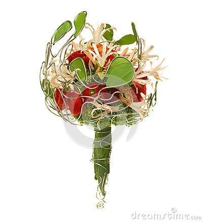 Wedding bouquet isolated on white.