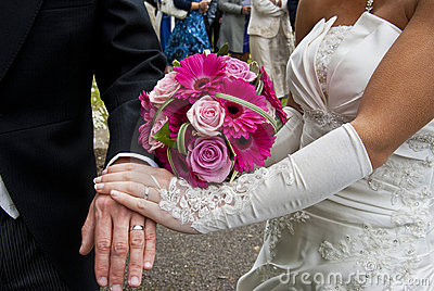 Wedding Bouquet and lace gloves