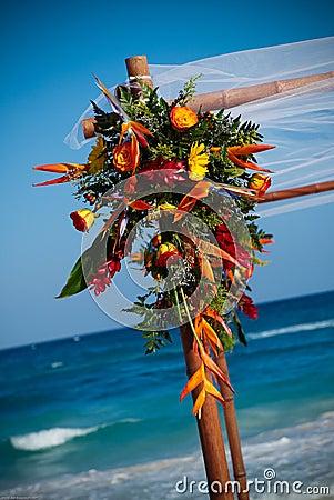 Wedding bouquet by ocean