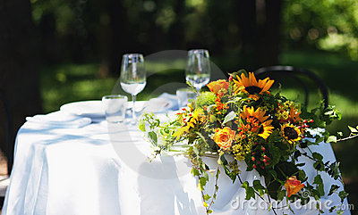 Wedding bouquet over white table