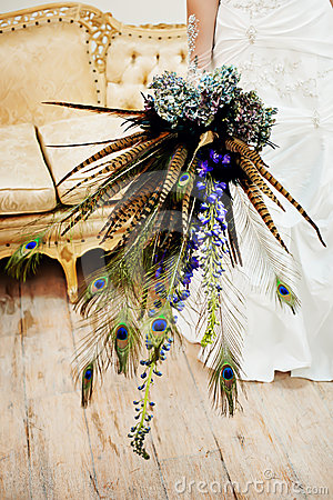 Wedding Bouquet with peacock feathers