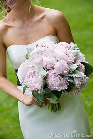 Wedding bouquet of pink flowers