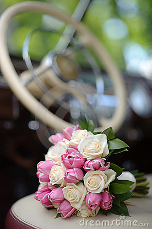 Wedding bouquet with pink tulip