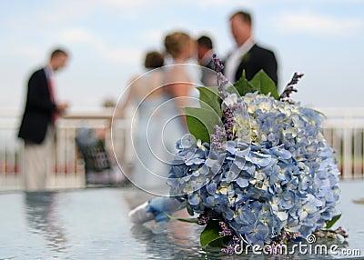 Wedding bouquet at reception.