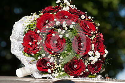 Wedding bouquet with red roses