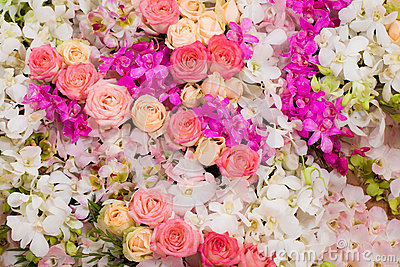 Wedding bouquet with rose bush, background