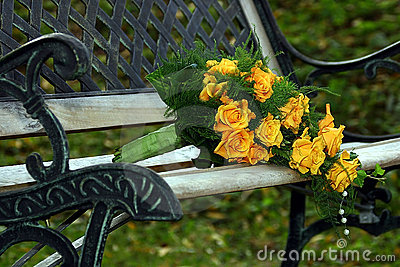 Wedding bouquet on stylish bench