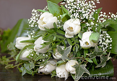 Wedding bouquet with tulips