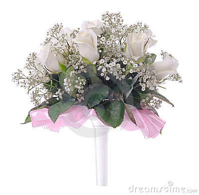 Wedding bouquet on a white
