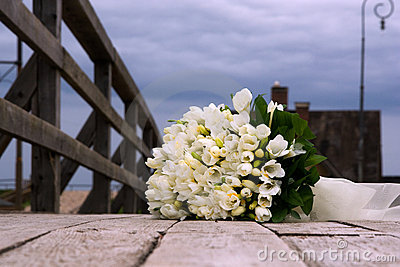 Wedding bouquet from white flowers