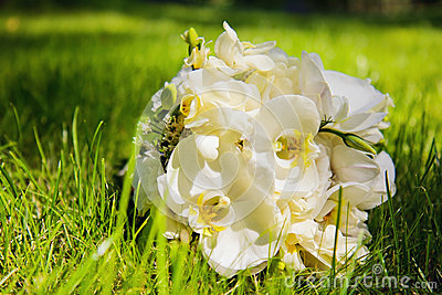 Wedding bouquet with white orchids
