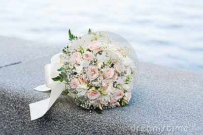 Wedding bouquet. White and pink flowers. Marriage