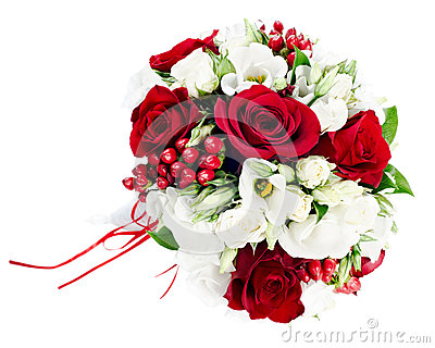 Wedding bouquet from white and red roses