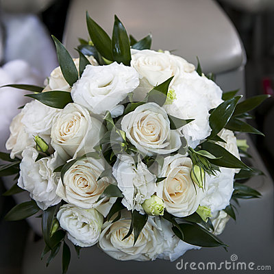 Wedding bouquet with white rose