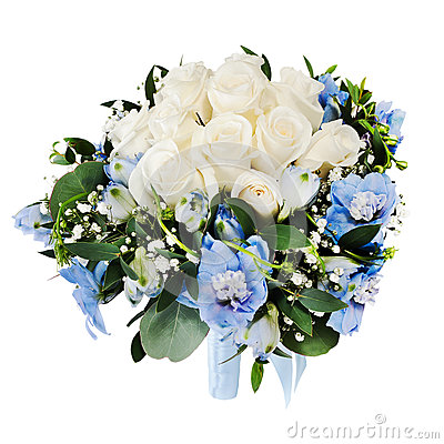 Wedding bouquet from white roses and delphiniums