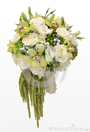 Wedding Bouquet of White Roses and Green Orchids