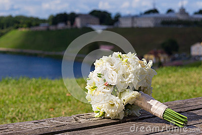 Wedding bouquet with white roses
