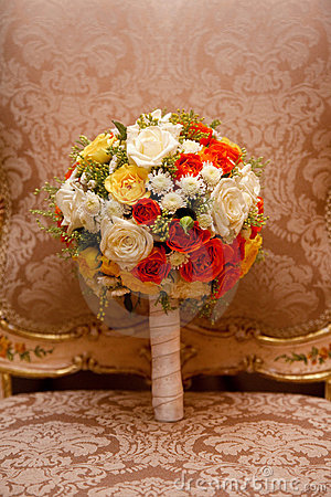 Wedding bouquete on chair