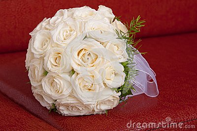 Wedding bridal bouquet of white roses
