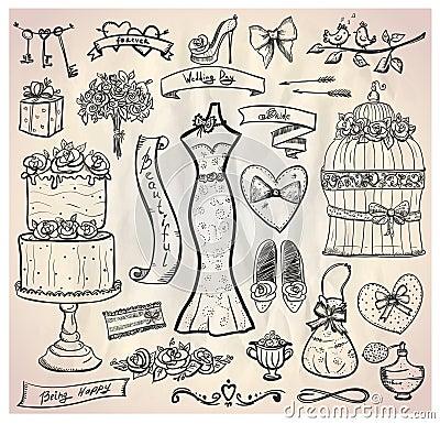 Wedding bridal graphic set.