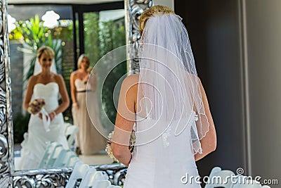 Wedding Bride Bridesmaid Mirror Family Editorial Photo