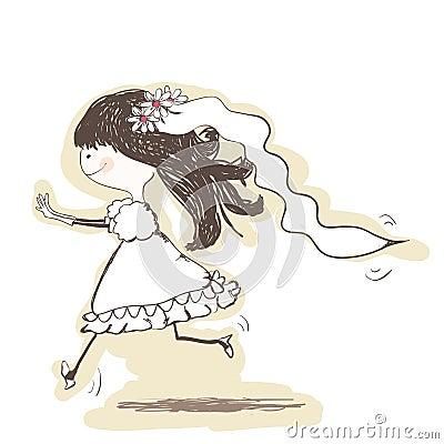 wedding - bride runs to the groom