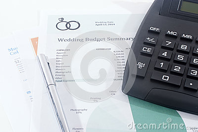 Wedding Budget with Calculator and Pen