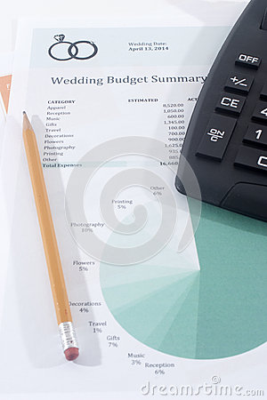Wedding Budget with Calculator and Pencil
