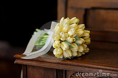 Wedding bunch of yellow tulips