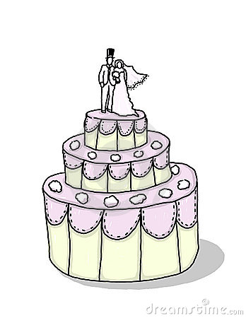 Wedding cake with bride and groom illustration