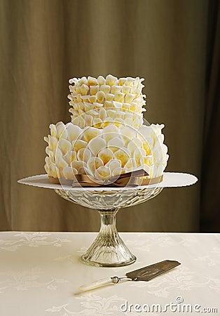 Wedding Cake With Fondant Petals Royalty Free Stock Photo ...