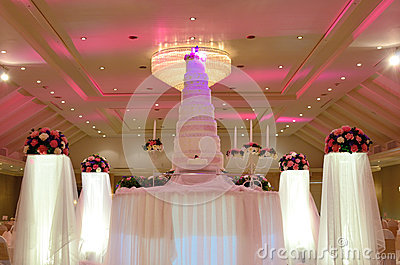 Wedding cake with rose flower decorate