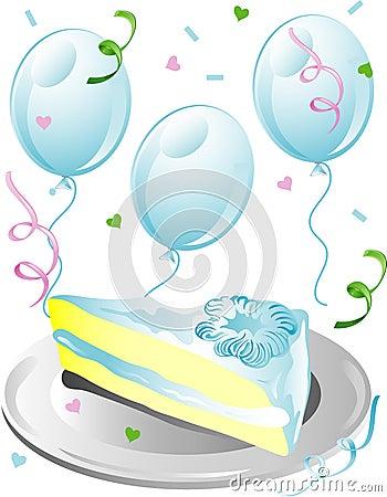 Wedding cake slice with confetti icon