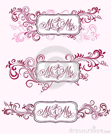 Wedding calligraphy in floral ornaments