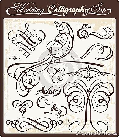 Free Wedding Calligraphy Set Royalty Free Stock Image - 20321226