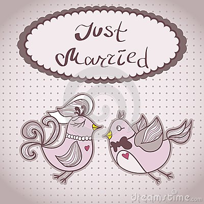 Wedding card with flying birds