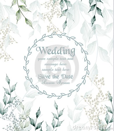 Free Wedding Card Round Frame Watercolor Green Leaves Vector Royalty Free Stock Image - 120039336