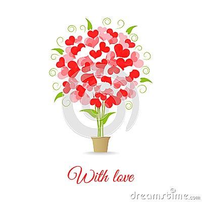 Wedding card tree of hearts