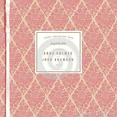 Wedding card with vintage coral background