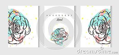 Wedding cards set with a cactus design flat vector illustration Vector Illustration