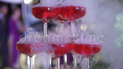 Wedding catering. Celebration marriage concept. Restaurant and bar alcohol menu. Luxury drink. Banquet service outdoor. Closeup for wedding catering. Celebration stock footage