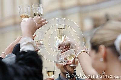 Wedding celebration with champagne