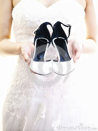 Wedding ceremony the bride s shoes