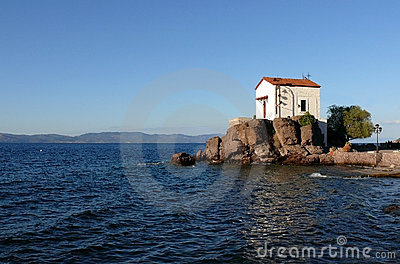Wedding church at the seaside. Lesvos. Greece