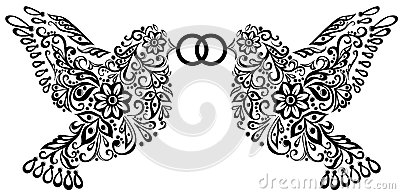Wedding clipart, silhouette of two birds
