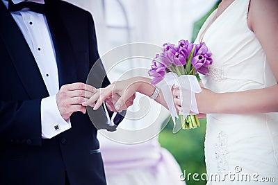 Wedding couple hands close-up