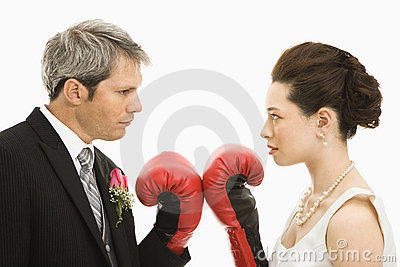 Wedding couple boxing